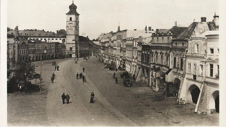 Historická fotografie náměstí v Litomyšli