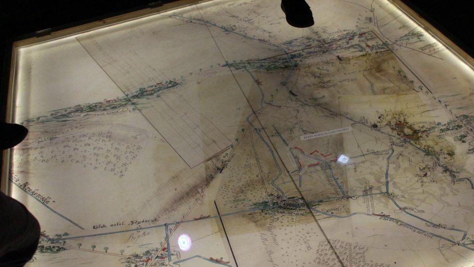 Archivní schema stíbrného dolu mapuje i systém odvodňovacích kanálů
