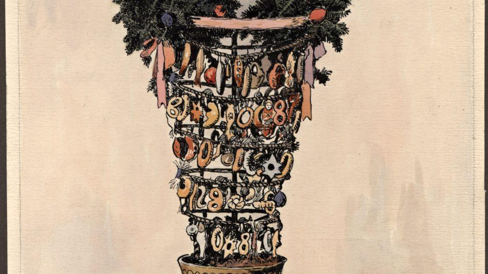 Zvykoslovný akvarel – vánoční vrkoč – maloval K. Koubek