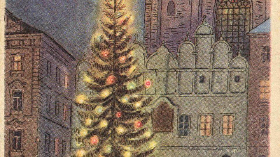 Barevná vánoční pohlednice z 1. pol. 20. stol. - kresba vánočního stromu na Staroměstském náměstí. Podle originálu V. Fialy. 50. léta.