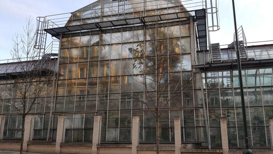 Ve skleníku botanické zahrady se odráží obraz naproti stojícího rodného Foglarova domu