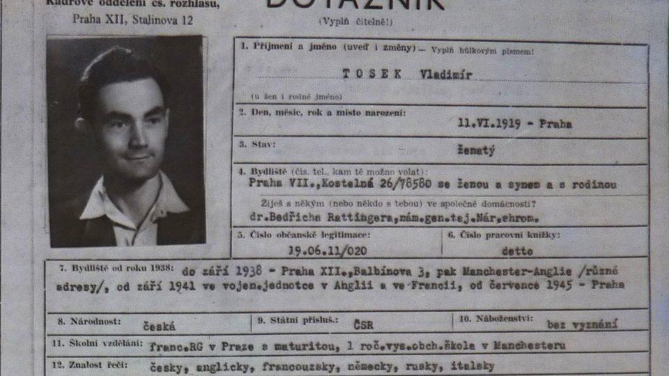 Osobní karta Vladimíra Toska z Československého rozhlasu