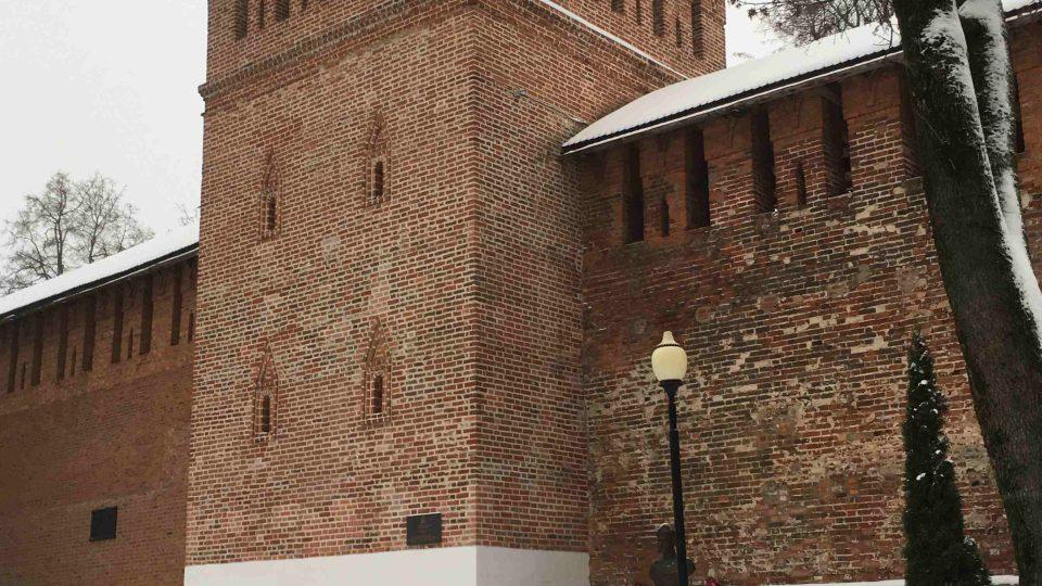 Jedna z 18 dochovaných hradebních věží ve Smolensku
