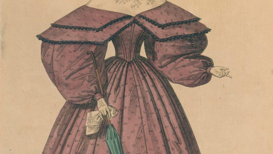Kolorovaná mědirytina z roku 1834, zobrazující dámu ve vycházkových šatech z období biedermeieru. Šaty s rozšířenými rukávy dostávají zcela odlišnou siluetu. Šaty doplněny čepcem a slunečníkem. Daroval v roce 1934 Ladislav Lábek