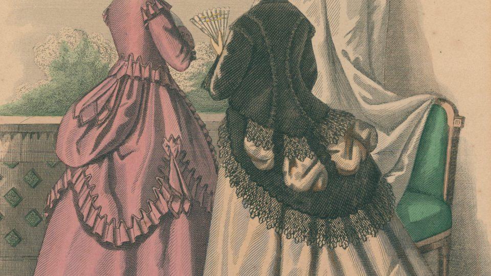 Kolorovaná módní rytina z roku 1868, zobrazující odpolední šaty