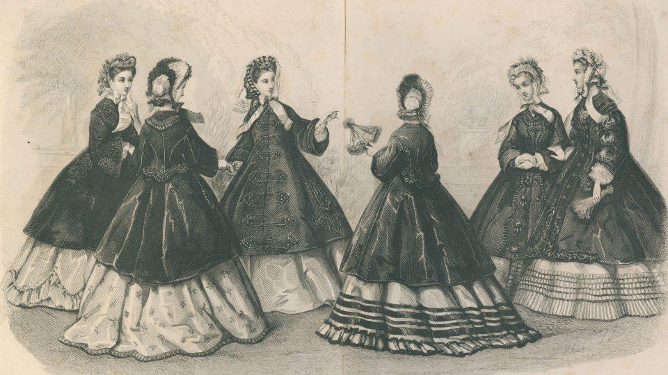 Ocelorytina z roku 1863, znázorňující šest žen ve vycházkových šatech typických pro období druhého rokoka