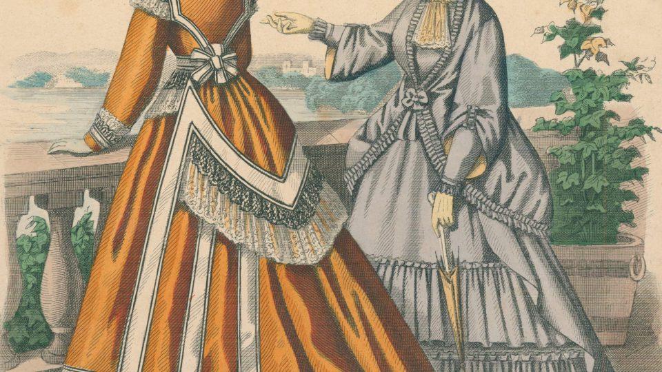 Kolorovaná ocelorytina módních listů z roku 1868 zobrazující odpolední šaty, na obrázku je dobře patrná postupná změna tvaru krinolíny a sukně. Znázorňuje postupný přechod od módy druhého rokoka do období turnýry