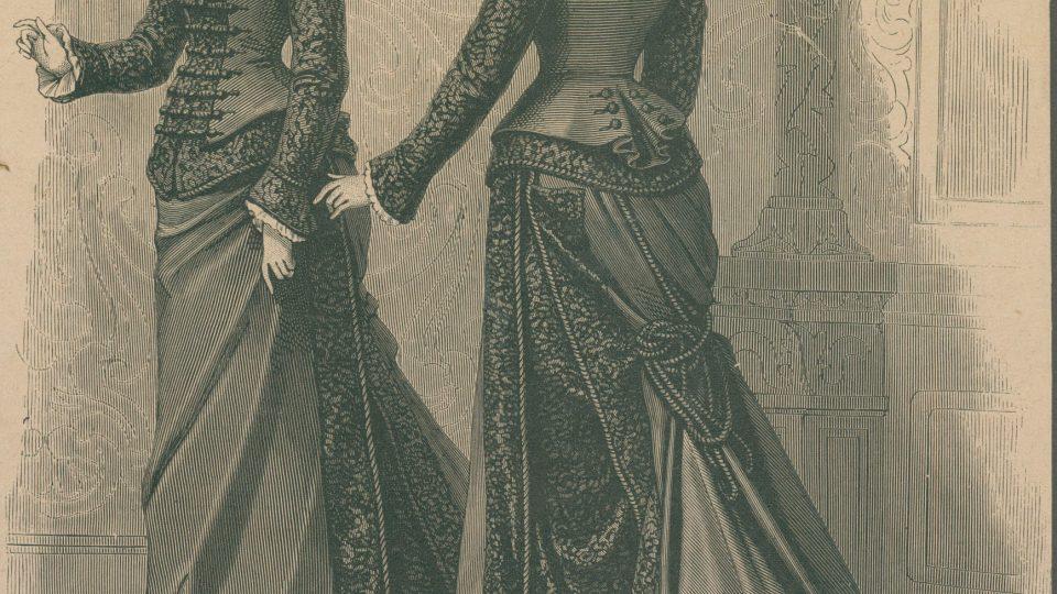 Dřevorytinová příloha módních listů z roku 1877, ukazující šaty pro všední den z období turnýry