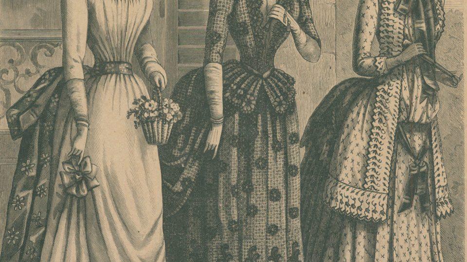 Dřevorytinová příloha módních listů z roku 1885 ukazující městskou módu z období turnýry