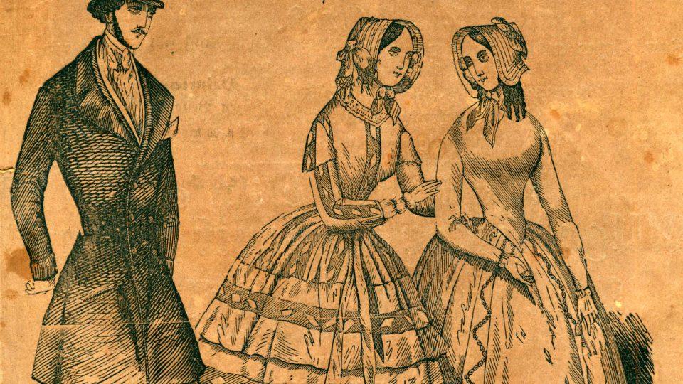 Kamenorytina zobrazující dámy a pána ve vycházkových šatech z roku 1845. Obrázek je prací kamenorytce Chalupy