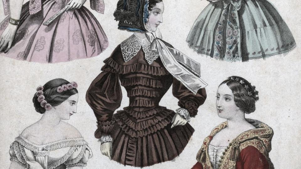 Kolorovaná příloha k módním listům z roku 1853, zobrazující různé typy střihů. Darovala slečna Láblerová