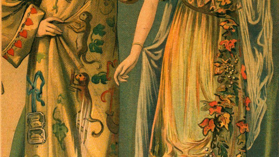 Barevná litografie znázorňující módní obrázek masky. Datováno 1913