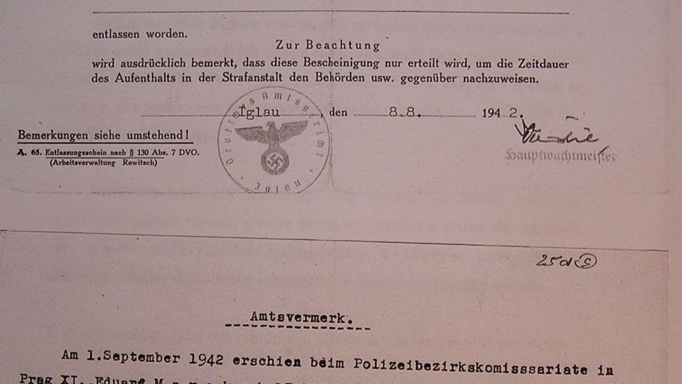 Propustka Eduarda Marka z německého vězení 1942