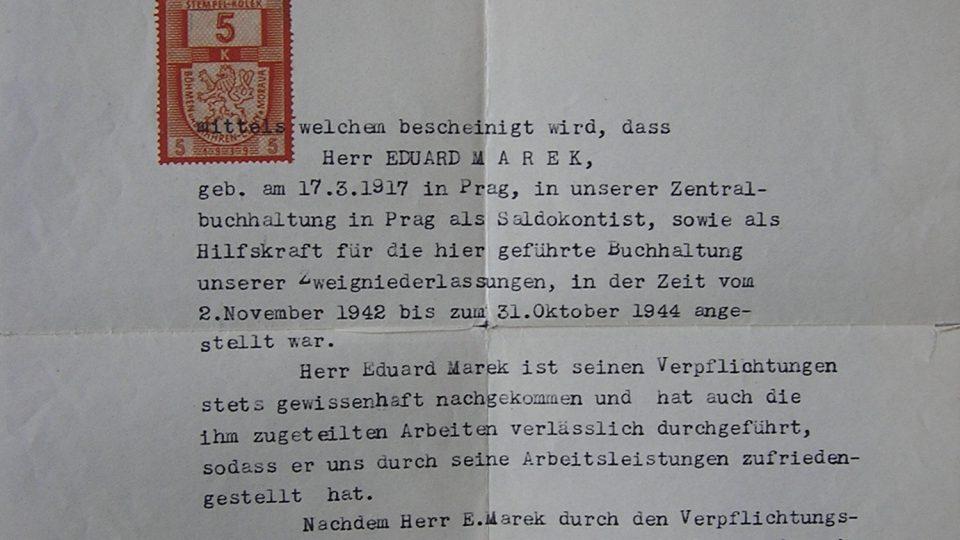Protektorátní potvrzení Eduarda Marka o zaměstnání 1944