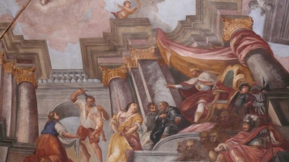 Šalamounův soud od J. A. Schöpfa zdobí strop obřadní síně