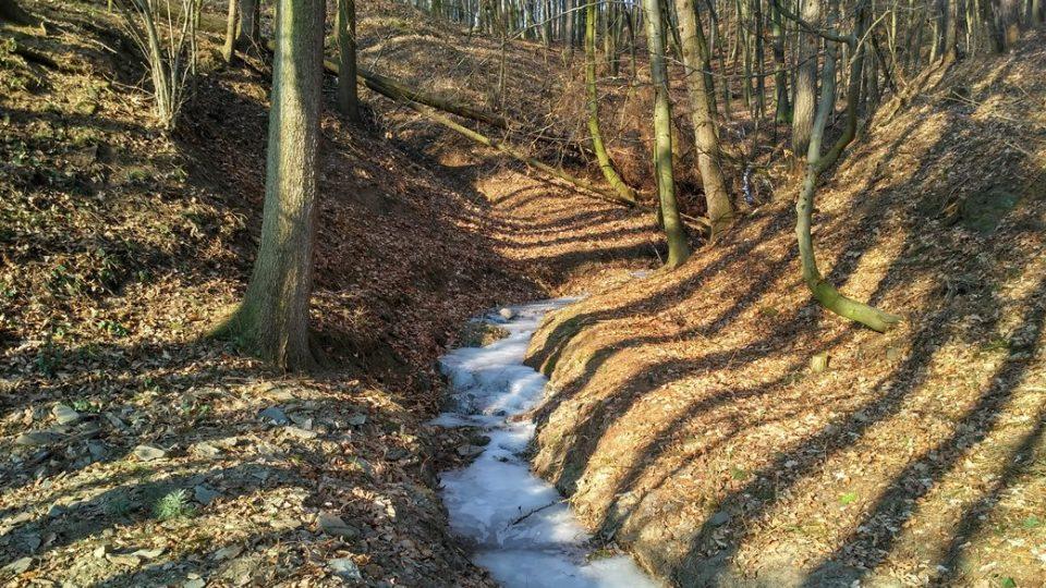 Poslední úsek se jde po zamrzlé hladině potoka