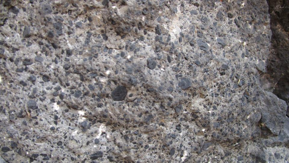 Ve skále jsou vidět pěkné černé krystaly minerálu augitu