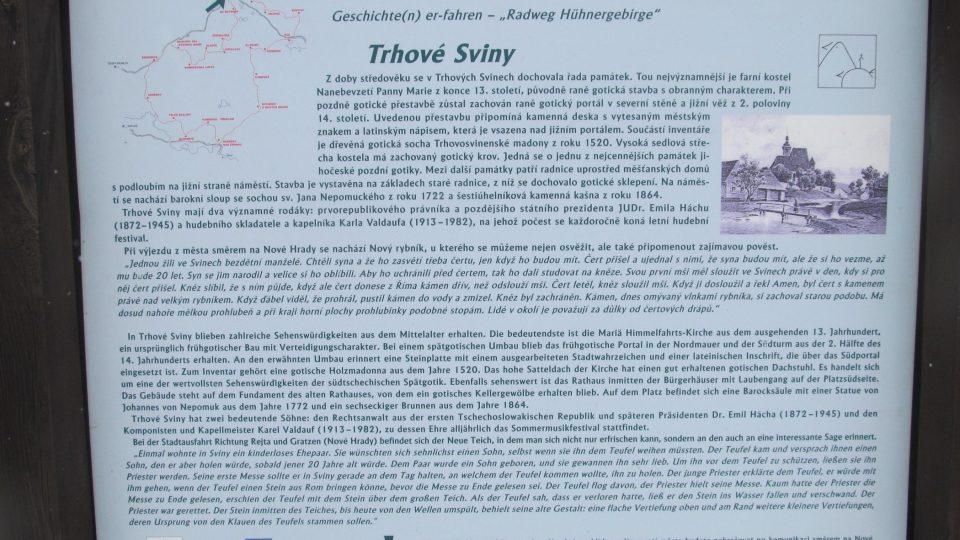Na každé zastávce si můžete přečíst kromě pověstí i nějakou zajímavou informaci z historie