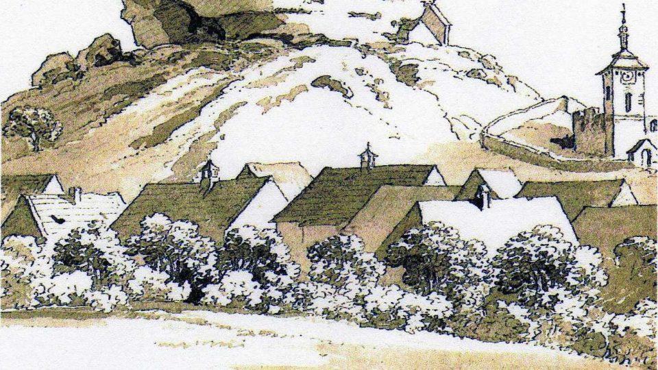 Lavírovaná kresba Antonína Pucherny po roce 1825