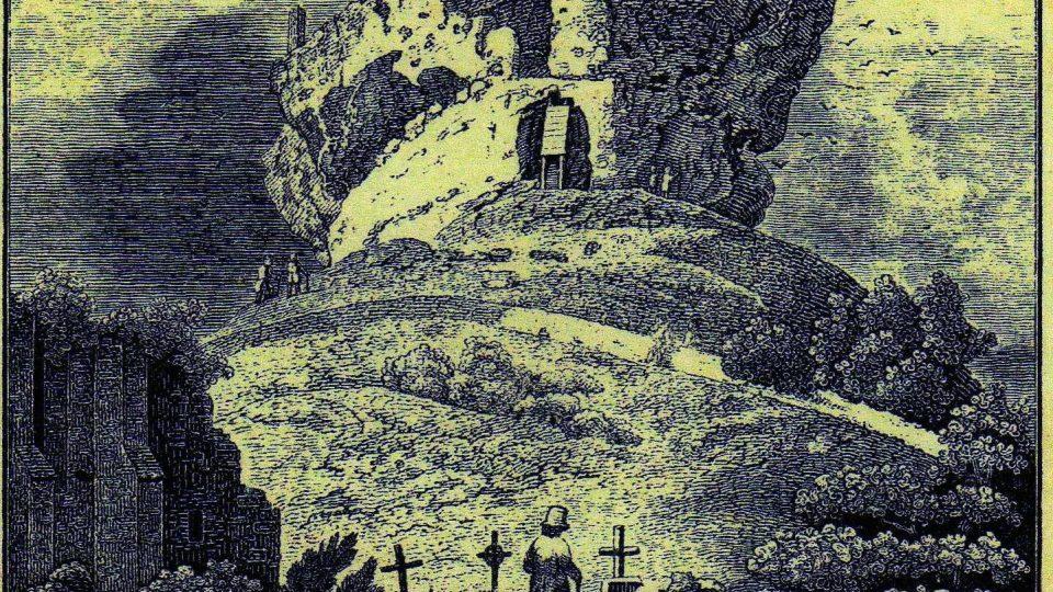 Litografie hradu Jestřebí z doby po roce 1825