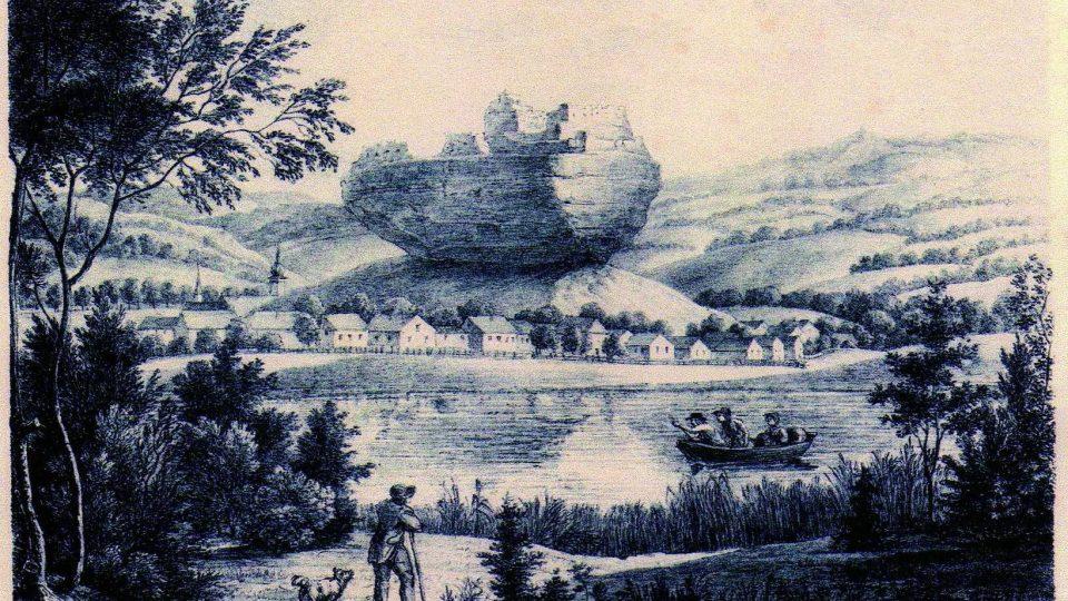 Litografie podle kresby Adolfa Friedricha Kunikeho z doby kolem roku 1824