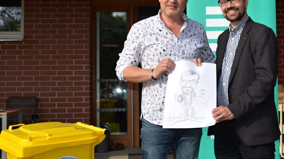 Karikaturista Milan Kounovský a ředitel ČRo Region Tomáš Pancíř