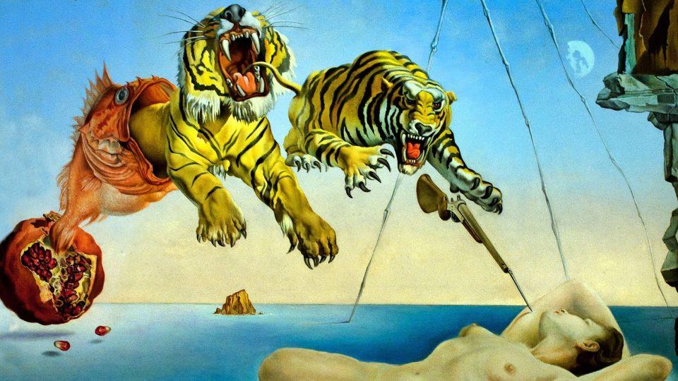Salvador Dalí: Sen vyvolaný letem včely kolem granátového jablka vteřinu před probuzením (1944)