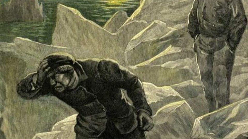 Původní ilustrace k románu Julese Verna Ledová sfinga