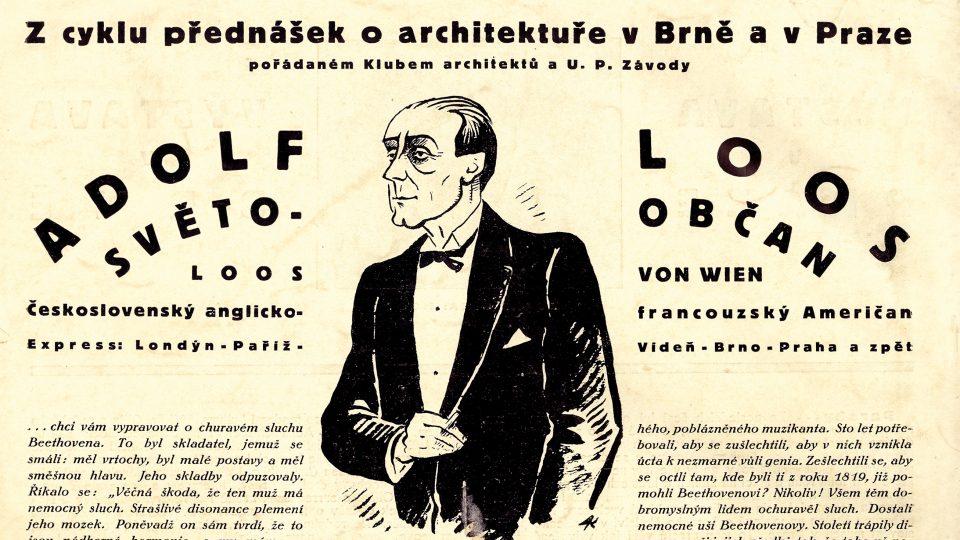 Anotace cyklu přednášek o architektuře v Brně a v Praze, Adolf Loos – světoobčan