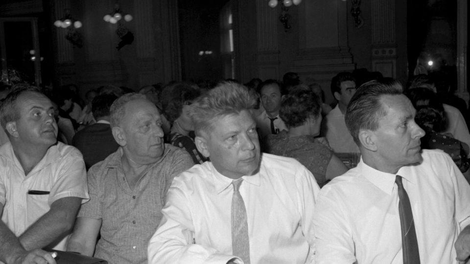 Antonín Jaroslav Liehm, Stanislav Budín, Jiří Hanzelka, Miroslav Zikmund, IV. sjezd Svazu československých spisovatelů