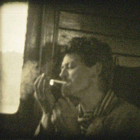 Adolf Holub ve vlaku, 1960, z němého osmimilimetrovém filmu