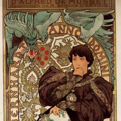Plakát Alfonse Muchy k prvnímu uvedení hry Lorenzaccio v roce 1896 v divadle Sarah Bernhardt