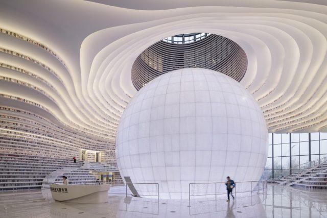Tianjin Binhai Library knihovna
