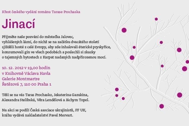 Pozvánka na křest českého vydání románu Tarase Prochaska