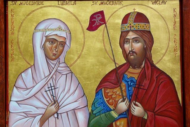 Ikona Jany Baudišové Svatí mučedníci kníže Václav a kněžna Ludmila | foto: Pravoslavná církev   ,  Jana Baudišová