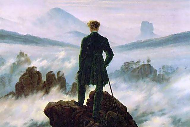 Romantický obraz německého malíře Caspara Davida Friedricha Poutník nad mořem mlhy