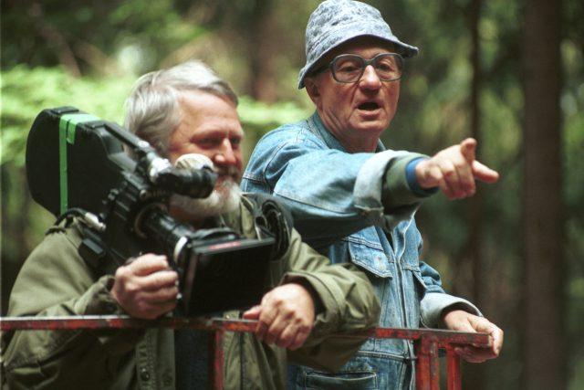 Andrej Barla, Karel Kachyňa, film natáčení Prima sezona (lokalita Sedmihorky, 25.8.1993)
