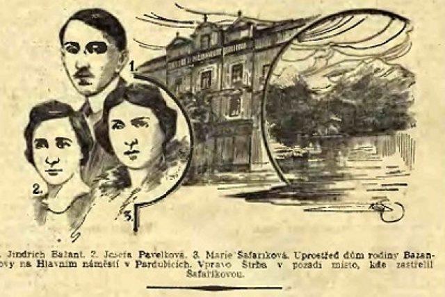 Bažant a jeho oběti (ilustrace z Národních listů z 29. 6. 1926)