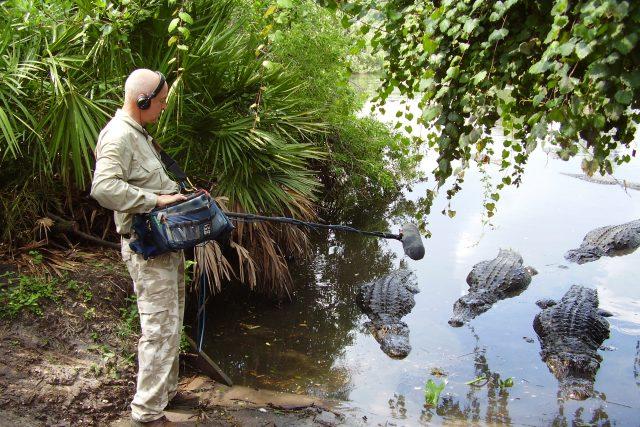 Chris Watson slaví den Země při interview s aligátorem.