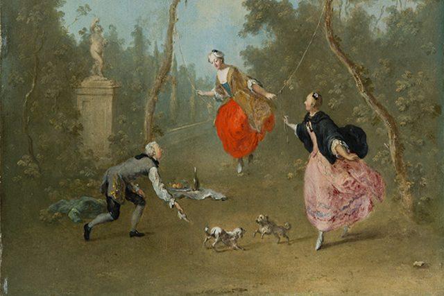 Dáma na houpačce od Norberta Grunda, kolem 1750
