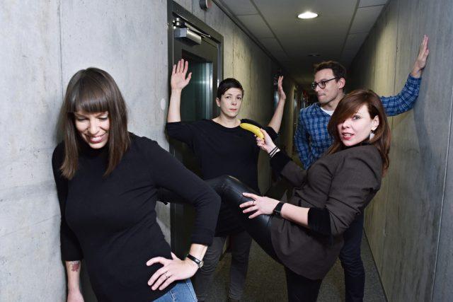 Část redakce ArtCafé: Hana Slívová, Jaroslava Haladová, Tomáš Novotný, Markéta Kaňková