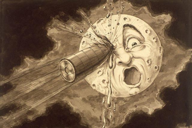 Kresba Georgese Mélièse k filmu Cesta na Měsíc, volně inspirovaného i románem Julese Verna Ze Země na Měsíc