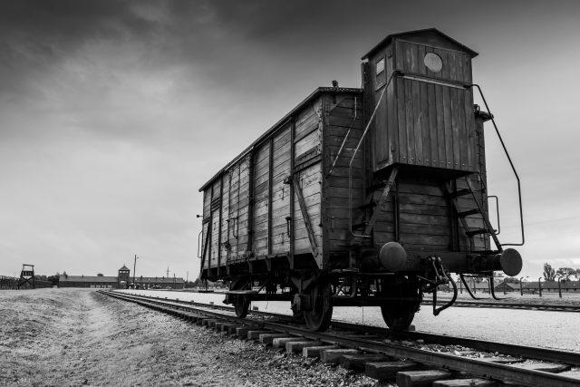 Vagón, který vozil vězně do koncentračního tábora v Osvětimi